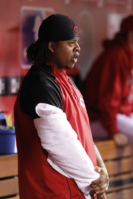 CINCINNATI, OH - SEPTEMBER 28: Edinson Volquez #36 of the Cincinnati Reds looks on against the Houston Astros at Great American Ball Park on September 28, 2010 in Cincinnati, Ohio. The Reds won 3-2 to clinch the NL Central Division title. (Photo by Joe Ro