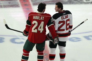 RALEIGH, NC - JANUARY 29:  Martin Havlat #24 of the Minnesota Wild and Patrik Elias #26 of the New Jersey Devils warm up prior to the Honda NHL SuperSkills competition part of 2011 NHL All-Star Weekend at the RBC Center on January 29, 2011 in Raleigh, Nor