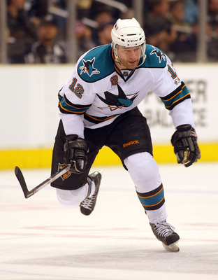 LOS ANGELES, CA - JANUARY 26:  Patrick Marleau #12 of the San Jose Sharks skates through the neutral zone against the Los Angeles Kings during their NHL game at Staples Center on January 26, 2011 in Los Angeles, California. The Kings defeated the Sharks 3