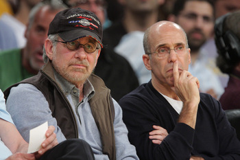 LOS ANGELES, CA - MAY 06:  Steven Spielberg (L) and Jeffrey Katzenberg (R) attend the Los Angeles Lakers vs Houston Rockets game at Staples Center on May 6, 2009 in Los Angeles, California.  (Photo by Noel Vasquez/Getty Images)