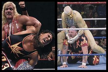 Jeff Jarrett vs. 1-2-3 Kid aka X-Pac and Goldust vs. Bam Bam Bigelow.