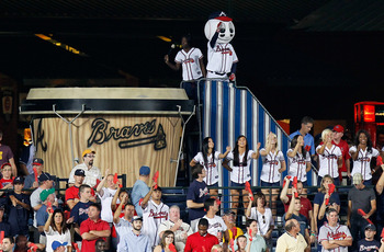 ATLANTA - OCTOBER 11:  Fans of the Atlanta Braves cheer during the game against the San Francisco Giants during Game Four of the NLDS of the 2010 MLB Playoffs at Turner Field on October 11, 2010 in Atlanta, Georgia.  (Photo by Kevin C. Cox/Getty Images)