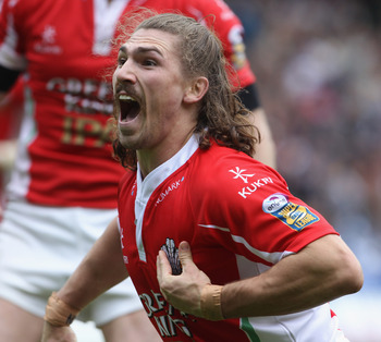EDINBURGH, SCOTLAND - MAY 01:  Jarrod Sammut of Crusaders RL celebrates his try against Bradford Bulls during the Engage Rugby Super League Magic Weekend match between Bradford Bulls and Crusaders RL at Murrayfield on May 1, 2010 in Edinburgh, Scotland.