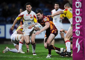HUDDERSFIELD, ENGLAND - APRIL 02:  Danny Brough of Giants scores a try during the engage Super League match between Huddersfield Giants and Catalans Dragons at the Galpharm Stadium on April 2, 2010 in Huddersfield, England.  (Photo by Christopher Lee/Gett