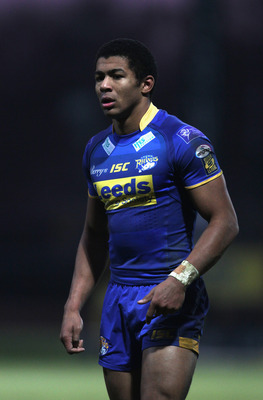 LEEDS, ENGLAND - JANUARY 01:  Kallum Watkins of Leeds looks on during the pre season friendly match between Leeds Rhinos and Wakefield Trinity Wildcats at Headingley Carnegie Stadium on January 1, 2011 in Leeds, England.  (Photo by David Rogers/Getty Imag