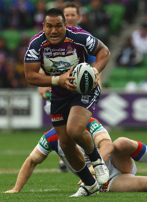 MELBOURNE, AUSTRALIA - SEPTEMBER 05:  Jeff Lima of the Storm runs with the ball during the round 26 NRL match between the Melbourne Storm and the Newcastle Knights at AAMI Park on September 5, 2010 in Melbourne, Australia.  (Photo by Quinn Rooney/Getty Im