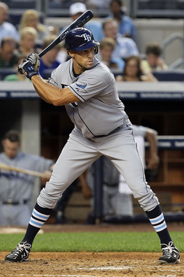 NEW YORK - JULY 16:  Gabe Kapler #19 of the Tampa Bay Rays bats against the New York Yankees on July 16, 2010 at Yankee Stadium in the Bronx borough of New York City.  (Photo by Jim McIsaac/Getty Images)