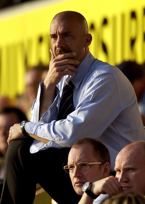 29 Mar 2002:  Watford manager Gianluca Vialli watches during the Nationwide League Division One match between Watford and Bradford City at Vicarage Road, Watford.  DIGITAL IMAGE  Mandatory Credit: Jamie McDonald/Getty Images