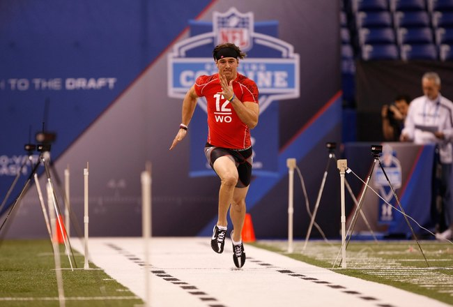 INDIANAPOLIS, IN - FEBRUARY 28: Wide receiver Riley Cooper of Florida runs the 40 yard dash during the NFL Scouting Combine presented by Under Armour at Lucas Oil Stadium on February 28, 2010 in Indianapolis, Indiana. (Photo by Scott Boehm/Getty Images)