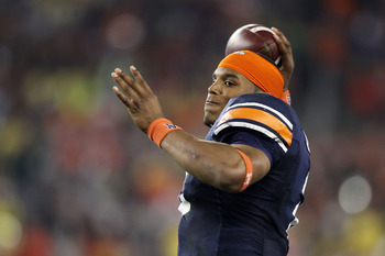 GLENDALE, AZ - JANUARY 10:  Cameron Newton #2 of the Auburn Tigers warms up prior to their game against the Oregon Ducks during the Tostitos BCS National Championship Game at University of Phoenix Stadium on January 10, 2011 in Glendale, Arizona.  (Photo