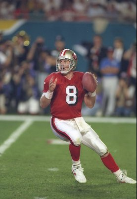 29 Jan 1995:  Quarter back Steve Young of the San Francisco 49ers is ready to throw the ball in the first quarter of Super Bowl XXIX against the San Diego Chargers at  the Joe Robbie Stadium in Miami, Florida.  Steve Young was the MVP and the 49ers won 49