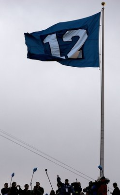 SEATTLE - JANUARY 22:  A flag representing the '12th man' in honor of Seattle Seahawks fans flies at the NFC Championship Game between the Seattle Seahawks and the Carolina Panthers at Qwest Stadium on January 22, 2006 in Seattle, Washington.  (Photo by H