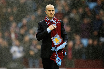 BIRMINGHAM, ENGLAND - FEBRUARY 05:  Michael Bradley of Aston Villa is unveiled to the supporters during the Barclays Premier League match between Aston Villa and Fulham at Villa Park on February 5, 2011 in Birmingham, England.  (Photo by Matthew Lewis/Get
