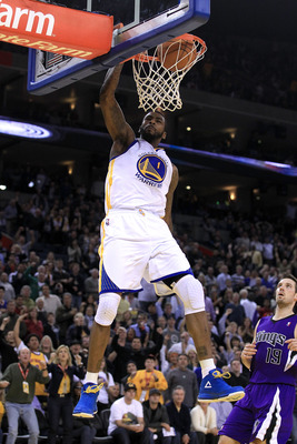 OAKLAND, CA - JANUARY 21:  Dorell Wright #1 of the Golden State Warriors dunks the ball during their game against the Sacramento Kings at Oracle Arena on January 21, 2011 in Oakland, California. NOTE TO USER: User expressly acknowledges and agrees that, b