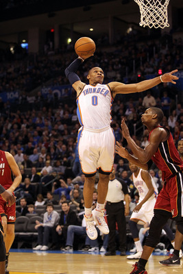 OKLAHOMA CITY, OK - JANUARY 30:  Russell Westbrook #0 of the Oklahoma City Thunder at Ford Center on January 30, 2011 in Oklahoma City, Oklahoma.  NOTE TO USER: User expressly acknowledges and agrees that, by downloading and or using this photograph, User