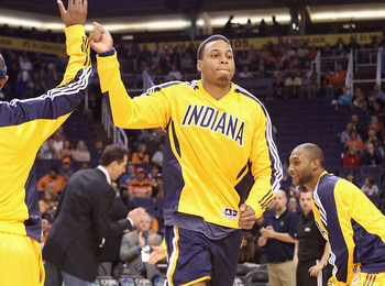 PHOENIX - DECEMBER 03:  Brandon Rush #25 of the Indiana Pacers is introduced before the NBA game against the Phoenix Suns at US Airways Center on December 3, 2010 in Phoenix, Arizona. NOTE TO USER: User expressly acknowledges and agrees that, by downloadi