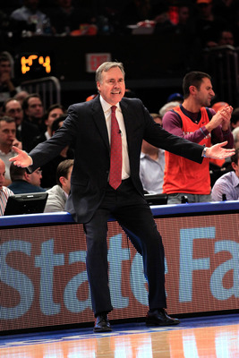 NEW YORK, NY - JANUARY 27:  Head coach Mike D'Antoni of the New York Knicks reacts during the game against the Miami Heat at Madison Square Garden on January 27, 2011 in New York City. The Knicks defeated the Heat 93-88. NOTE TO USER: User expressly ackno