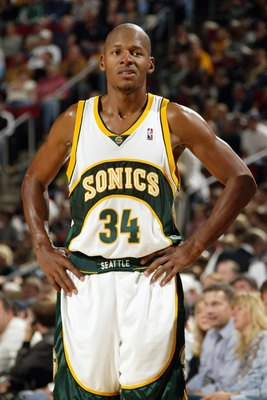 SEATTLE - NOVEMBER 05:  Ray Allen #34 of the Seattle SuperSonics looks on during a game against the Los Angeles Lakers at Key Arena on November 5, 2006 in Seattle, Washington.  The Sonics won 117-101.  NOTE TO USER: User expressly acknowledges and agrees