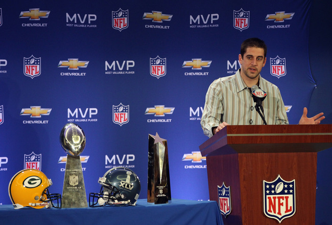 DALLAS, TX - FEBRUARY 07:  Green Bay Packers quarterback Aaron Rodgers speaks to the media during a press conference at Super Bowl XLV Media Center on February 7, 2011 in Dallas, Texas.  (Photo by Streeter Lecka/Getty Images)