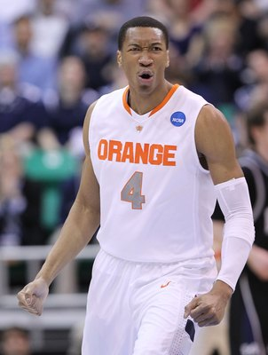 SALT LAKE CITY - MARCH 25:  Wesley Johnson #4 of the Syracuse Orange in action against the Butler Bulldogs during the west regional semifinal of the 2010 NCAA men's basketball tournament at the Energy Solutions Arena on March 25, 2010 in Salt Lake City, U