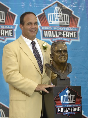 CANTON, OH - AUGUST 04: Bruce Matthews poses with his bust during the Class of 2007 Pro Football Hall of Fame Enshrinement Ceremony August 4, 2007 in Canton, Ohio. (Photo by Al Messerschmidt/Getty Images)