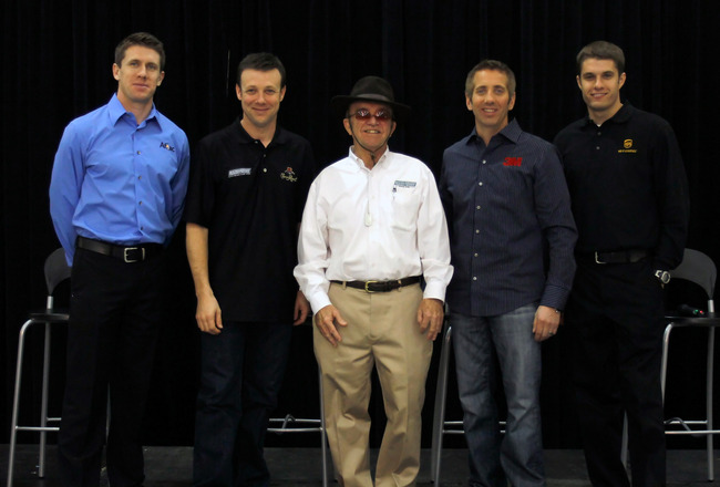 CONCORD, NC - JANUARY 27:  Team owner Jack Roush (C) poses with drivers (L-R) Carl Edwards, Matt Kenseth, Greg Biffle and David Ragan, during the NASCAR Sprint Media Tour hosted by Charlotte Motor Speedway, held at the Roush-Fenway hanger of Concord Regio