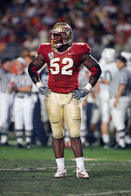 MIAMI GARDENS, FL - JANUARY 3:  Brodrick Bunkley #52 of the Florida State Seminoles stands on the field during the Fed Ex Orange Bowl with the Penn State Nittany Lions at Dolphins Stadium on January 3, 2005 in Miami Gardens, Florida. The Lions won 26-23 i