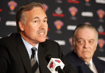 NEW YORK - MAY 13:  New head coach of the New York Knicks Mike D'Antoni (L) speaks to the media as team president Donnie Walsh (R) looks on during a press conference on May 13, 2008 at Madison Square Garden in New York City. NOTE TO USER: User expressly a