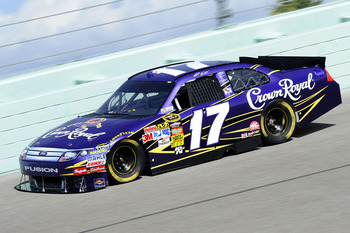 HOMESTEAD, FL - NOVEMBER 19:  Matt Kenseth, driver of the #17 Crown Royal Ford, practices for the NASCAR Sprint Cup Series Ford 400 at Homestead-Miami Speedway on November 19, 2010 in Homestead, Florida.  (Photo by John Harrelson/Getty Images for NASCAR)