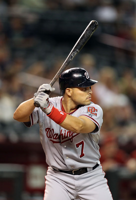 PHOENIX - AUGUST 04:  Ivan Rodriguez #7 of the Washington Nationals at bat during the Major League Baseball game against the Arizona Diamondbacks at Chase Field on August 4, 2010 in Phoenix, Arizona. The Nationals defeated the Diamondbacks 7-2.  (Photo by