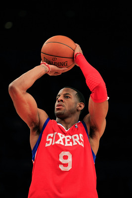 NEW YORK, NY - FEBRUARY 06:  Andre Iguodala #9 of the Philadelphia 76ers shoots a free throw against the New York Knicks at Madison Square Garden on February 6, 2011 in New York City. NOTE TO USER: User expressly acknowledges and agrees that, by downloadi