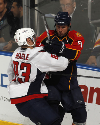 SUNRISE, FL - JANUARY 11: Stephen Weiss #9 of the Florida Panthers and Jay Beagle #83 of the Washington Capitals on January 11, 2011 at the BankAtlantic Center in Sunrise, Florida. The Panthers defeated the Capitals 4-3 in overtime. (Photo by Joel Auerbac