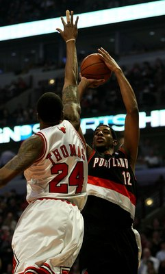 CHICAGO - JANUARY 12: LaMarcus Aldridge #12 of the Portland Trail Blazers shoots over Tyrus Thomas #24 of the Chicago Bulls on January 12, 2009 at the United Center in Chicago, Illinois. The Trail Blazers defeated the Bulls 109-95. NOTE TO USER: User expr