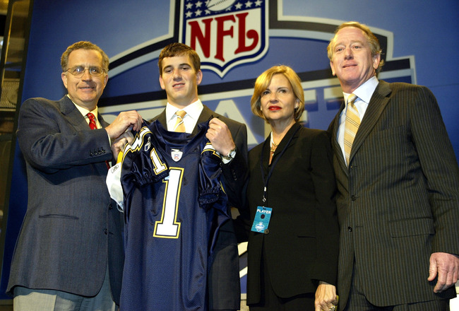 NEW YORK - APRIL 24:  Eli Manning (2nd-L) with his parents receives a San Diego Chargers jersey from NFL Commissioner Paul Tagliabue during the 2004 NFL Draft on April 24, 2004 at Madison Square Garden in New York City. Manning was selected first pick ove