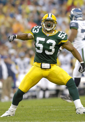 Green Bay Packers linebacker Niko Koutouvides celebrates a special teams tackle    at Lambeau Field against the Seattle Seahawks August 16, 2004.  (Photo by Al Messerschmidt/Getty Images)