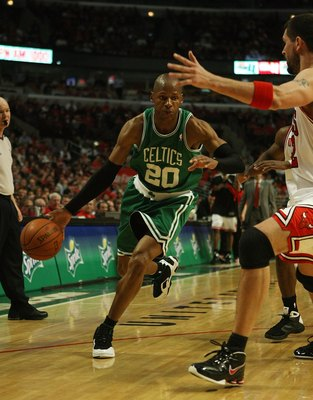 CHICAGO - APRIL 30: Ray Allen #20 of the Boston Celtics drives against Brad Miller #52 of the Chicago Bulls in Game Six of the Eastern Conference Quarterfinals during the 2009 NBA Playoffs at the United Center on April 30, 2009 in Chicago, Illinois. The B