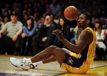 LOS ANGELES, CA - FEBRUARY 03:  Ron Artest #15 of the Los Angeles Lakers reacts to a lost possession against the San Antonio Spurs during the first half at Staples Center on February 3, 2011 in Los Angeles, California.  NOTE TO USER: User expressly acknow