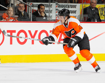 PHILADELPHIA, PA - FEBRUARY 03:  Danny Briere #48 of the Philadelphia Flyers skates during an NHL hockey game against the Nashville Predators at the Wells Fargo Center on February 3, 2011 in Philadelphia, Pennsylvania.  (Photo by Paul Bereswill/Getty Imag