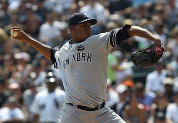CHICAGO - AUGUST 29: Starting pitcher Ivan Nova #47 of the New York Yankees delivers the ball against the Chicago White Sox at U.S. Cellular Field on August 29, 2010 in Chicago, Illinois. (Photo by Jonathan Daniel/Getty Images)