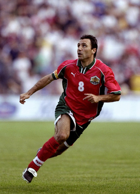 9 Jun 1999:  Hristo Stoichkov of Bulgaria makes his last international appearance in the European Championship qualifier against England at the Bulgarska Armia Stadium in Sofia, Bulgaria. The game ended 1-1. \ Mandatory Credit: Ross Kinnaird /Allsport