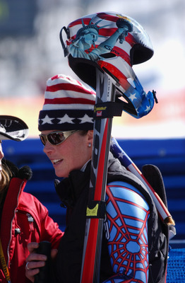 12 Feb 2002:  Picabo Street of the USA after the finish of the women's downhill final during the Salt Lake City Winter Olympic Games at the Snowbasin ski area in Ogden, Utah. DIGITAL IMAGE. Mandatory Credit:   Doug Pensinger/Getty Images