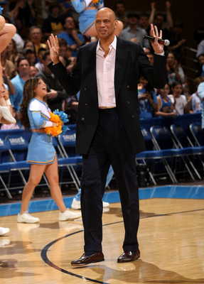 WESTWOOD, CA - MARCH 08: Former player Kareem Abdul Jabar of the UCLA Bruins waves to the crowd during ceremonies honoring his 1967-68 NCAA championship team at halftime of the game with the California Golden Bears on March 8, 2008 at Pauley Pavillion in