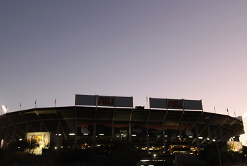 TEMPE, AZ - DECEMBER 28:  General view of the exterior of Sun Devil Stadium before the Insight Bowl between the Missouri Tigers and the Iowa Hawkeyes on December 28, 2010 in Tempe, Arizona.  (Photo by Christian Petersen/Getty Images)