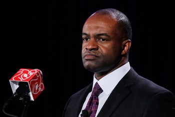 DALLAS, TX - FEBRUARY 03:  NFLPA executive director DeMaurice Smith speaks during the NFL Players Association press conference at the Super Bowl XLV media center on February 3, 2011 in Dallas, Texas. The Green Bay Packers will play the Pittsburgh Steelers