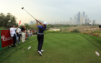 DUBAI, UNITED ARAB EMIRATES - FEBRUARY 09:  Tiger Woods of the USA in action during the pro-am for the 2011 Omega Dubai desert Classic held on the Majilis Course at the Emirates Golf Club on February 9, 2011 in Dubai, United Arab Emirates.  (Photo by Davi