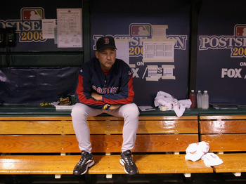 ST. PETERSBURG, FL - OCTOBER 11:  Manager Terry Francona of the Boston Red Sox sits in the dugout before game two of the American League Championship Series against the Tampa Bay Rays during the 2008 MLB playoffs at Tropicana Field on October 10, 2008 in