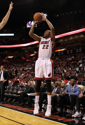 MIAMI, FL - JANUARY 28: James Jones #22 of the Miami Heat shoots a jump shot during a game against the Detroit Pistons at American Airlines Arena on January 28, 2011 in Miami, Florida. NOTE TO USER: User expressly acknowledges and agrees that, by download