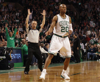 BOSTON, MA - FEBRUARY 06:  Ray Allen #20 of the Boston Celtics celebrates his three point shot in the first half against the Orlando Magic on February 6, 2011 at the TD Garden in Boston, Massachusetts. The Celtics defeated the Magic 91-80. NOTE TO USER: U