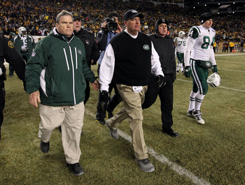 PITTSBURGH, PA - JANUARY 23:  Head coach Rex Ryan of the New York Jets walks off of the field dejected after their 24 to 19 loss to the Pittsburgh Steelers in the 2011 AFC Championship game at Heinz Field on January 23, 2011 in Pittsburgh, Pennsylvania.