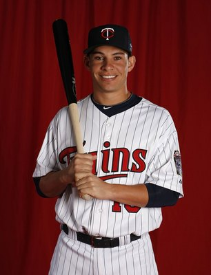 FT. MYERS, FL - MARCH 01:  Danny Valencia #19 of the Minnesota Twins poses during photo day at Hammond Stadium on March 1, 2010 in Ft. Myers, Florida.  (Photo by Gregory Shamus/Getty Images)